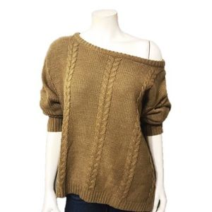 Sweaters - Cable Knit Brown Oversized Sweater Size-Medium